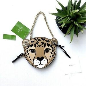 Kate Spade Leopard Coin Purse Bag with Floral Back